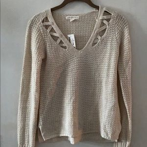 Aeropostale cream sweater with cutout detail
